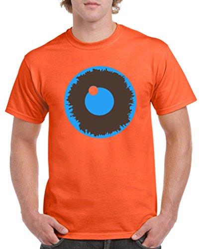 Comedy Shirts - Evil Eye - Herren T-Shirt - Orange/Blau-Braun Gr. M