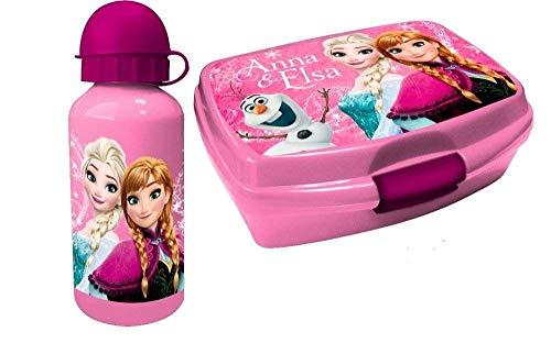 Trinkflasche und Brotbox Set Geschenkset Frozen Brotzeitdose mit Flasche aus Aluminium Pausenset für Kindergarten, Schule und Freizeit mit Motiven der Eiskönigin ()