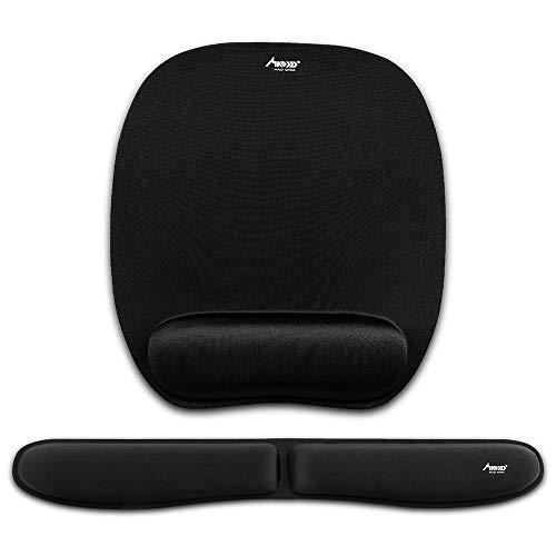 Mauspad, Madgiga ergonomische Handgelenkauflage Handballenauflage Mouse Pad, rutschfeste Unterlage, Anti-Sehnenscheidenprobleme für Computer, Laptop und Notebook, Schwarz (Neues Set)