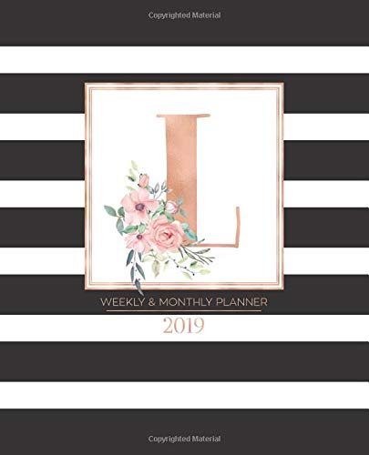 """Weekly & Monthly Planner 2019: Black and White Stripes with Rose Gold Monogram Letter L and Pink Flowers (7.5 x 9.25"""") Horizontal Striped AT A GLANCE Personalized Planner for Women Moms Girls por Pretty Planners 2019"""
