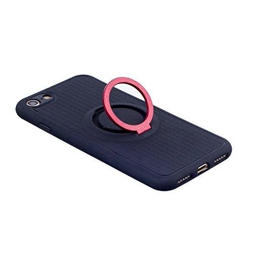 Cover per iphone 8 4.7, iphone 7 360 gradi di rotazione Metallo Anello Ring Coperture telefoniche, Ekakashop 360°Ultra Slim Full Body Protettivo Cover Case Custodia per iphone 7 /iphone 8 4.7 pollici Stent-Rosso