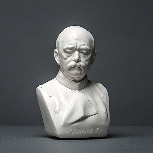 Bismarck Skulptur aus hochwertigem Zellan, echte Handarbeit Made in Germany, Büste in weiß, 15cm