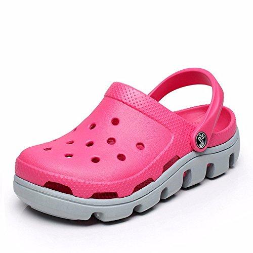 Sommer neuen Jungen europäischen römischen Loch Schuhe Casual Sandalen dicken unteren Sport Strand Schuhe Garten weichen Boden Sandalen Outdoor Schuhe Männer,Pink and gray US=10,UK=9.5,EU=44,CN=46