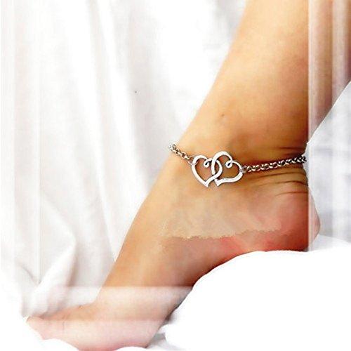 Bazhahei Fußkettchen, doppeltes Herz, sexy, Sandalen, Fußkettchen, Armband L silberfarben - Herzen Sexy 5 Stück