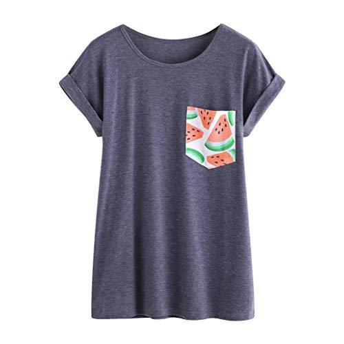 CAOQAO Damen Sommer Sweatshirt Oberteile Hemd Lose T-Shirt Kurzarmshirt Oansatz Kurzarm Wassermelone Print Pocket Top T-Shirt