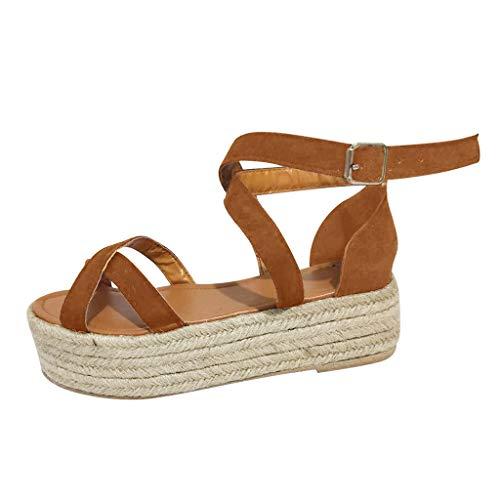 Damen Sandalen Böhmischer Stil Plattform Damen Keilpumps Stroh Dicke Schuhe Damen römische ()