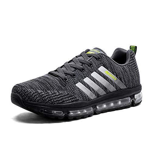 AZOOKEN Unisex Sportschuhe Laufschuhe Sneakers Atmungsaktiv Turnschuhe Air Sport Casual Shoes Herren Damen(8068Grey43)