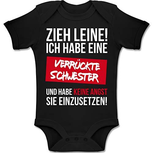 Shirtracer Sprüche Baby - Zieh Leine Ich Habe eine verrückte Schwester - 6-12 Monate - Schwarz - BZ10 - Baby Body Kurzarm Jungen Mädchen