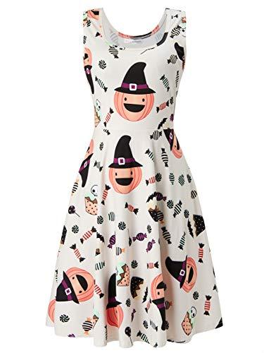 ACUCANDY Damen's Weiß ärmellos Drucken Kürbis Candy Cake Kleid Casual Midi Kleid