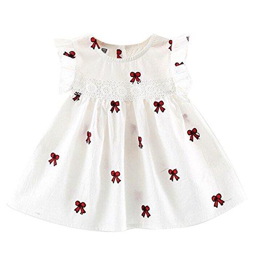 Beikoard Niña Vestido Liquidación, Vestido de Verano Niño niños niñas Bebe sin Mangas Vestidos de Fiesta Ropa de Princesa Cisne (70cm/6M, Blanco)