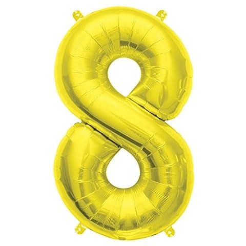 40cm Air Remplissez Nombre 8 or Ballon Foil (vendu non gonflé)