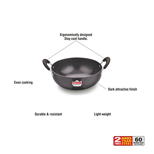 Kitchen Essentials 3MM Deep Kadai Hard Anodised 8inch (20cm),1750ml, S11