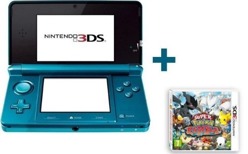 Nintendo 3DS BLEUE LAGON + SUPER POKEMON RUMBLE