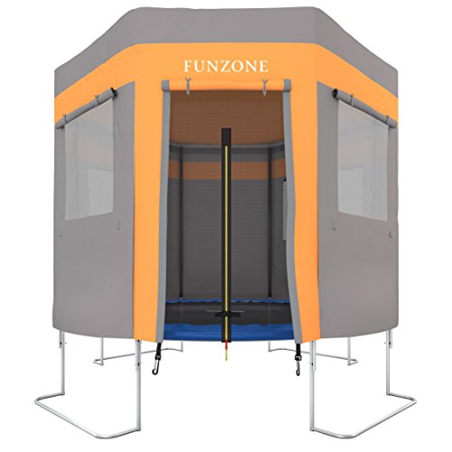 Ultrasport Trampolinzelt für Gartentrampolin Ultrasport Jumper Orange-Grau (Modelle ab Mai 2014) / Trampolinspielzelt, wie ein Trampolindach, zum Verstecken, Toben, macht das Trampolin zur Höhle, 305 cm