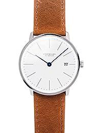 STERNGLAS Bauhaus Uhr 38mm Ziffernblatt mit Anti-Reflex Saphirglas | Schnellwechselband | RONDA Uhrwerk | KICKSTARTER | Minimalistische Armbanduhr | Herrenuhr | Zifferblatt weiß | Lederband braun
