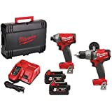 Milwaukee M18ONEPP2A-502X M18 One Key Fuel Twin Pack (M18 FPD Percussion Drill, M18 FID Impact Driver, 2 x 5.0ah batteries, fast charger, dynacase)
