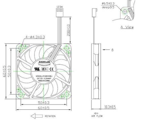 Everflow Lüfter 60x60x10mm R126010BUAF DC 12V 5200 U/min 44dBA Kugellager PWM