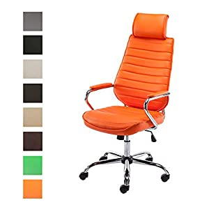41cmw5Q0kAL. SS300  - CLP-Silla-de-escritorio-RAKO-con-acolchado-grueso-y-de-calidad-Con-tapizado-de-cuero-sinttico-La-altura-del-asiento-es-regulable-46-57-cm-Tiene-reposabrazos-apoyacabezas-y-funcin-de-balanceo-naranja
