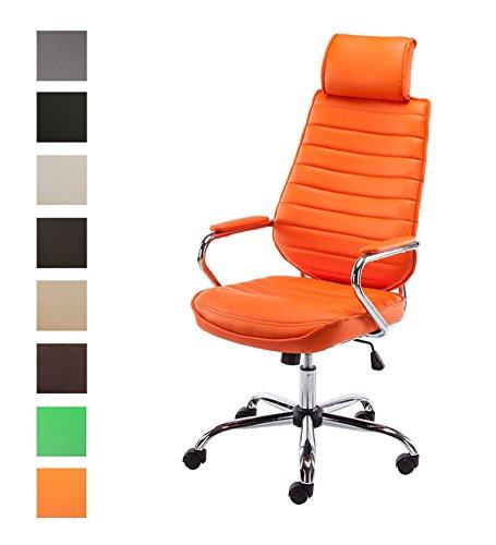 CLP Silla de Oficina Rako en Cuero Sintético I Silla Ejecutiva Regulable en Altura I Silla de Escritorio Giratoria I Color: Naranja