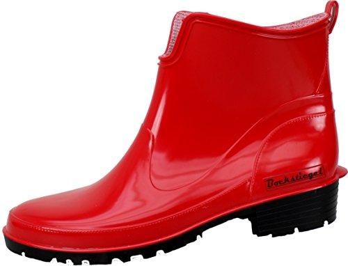 BOCKSTIEGEL® SASKIA Damen - Modische Gummihalbstiefel (36-42 Rubber Boots) Red/Black
