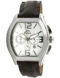 gino franco Men's 9655BR Barrel Shaped Chronograph Stainless Steel Genuine Leather Strap Watch