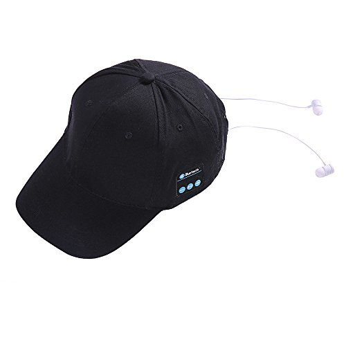Bluetooth Kopfhörer,Headset Wireless Baseball Cap Sport Bt4.2 Musik Hut Kappe Lautsprecher Mikrofon Flow In Ear Magnetisches Headset FüR Android Samsung, Huawei (Schwarz) Autos Baseball-cap