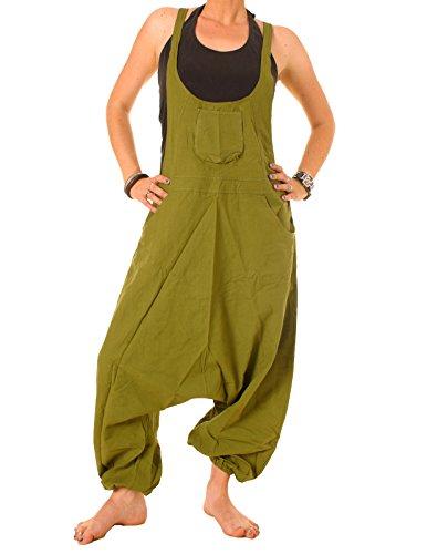 Vishes – Alternative Bekleidung – Baumwoll Latzhose Haremshose Overall olivgrün 36 bis 38