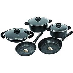 Schumann Professionnel SBA2201400 Black Rock Lot de 14 Pièces Batteries de Cuisine Revêtement/Fonte d'Aluminium Noir