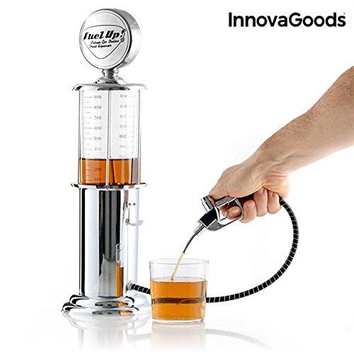 InnovaGoods Dispensador de Bebidas Fuel Up con Manguera, Polipropileno, Plateado, 14x48x14 cm