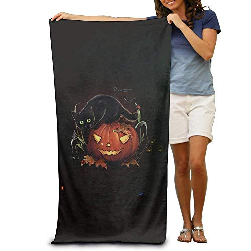 h, Soft, Quick Dry, Carved Pumpkin and Evil Black Cat Halloween Adult Super Absorbent Beach Towel Beach Towels ()