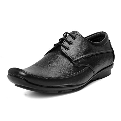 K KING Men's Genuine Leather Black Leather Lace-up Formal Shoes