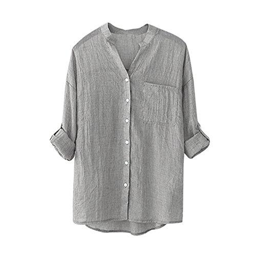 LEvifun Moda Camicetta Donna Camicia da Lavoro A Maniche Lunghe Bottoni di Base Elegante Maglietta Polo Tops Bluse Bianche Grigio