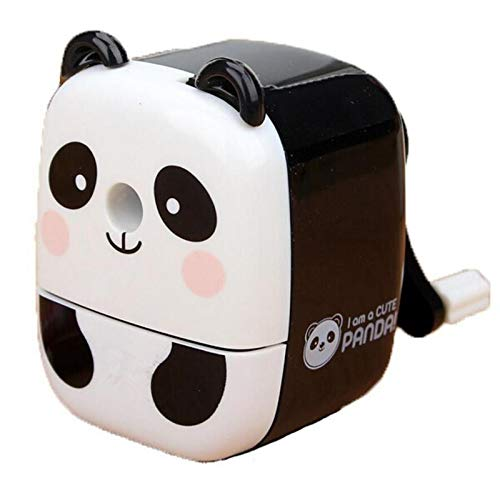 ShanZWH Süßer Panda Bleistiftspitzer Handheld Drehbarer Bleistiftspitzer Geschenk für Kinder