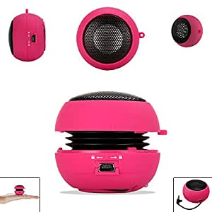 PINK 3.5mm Audio Jack Portable Plug and Play Hamburger Rechargeable Mini Wired Speaker For BLACKBERRY Z10 Mobile Cellular Cell Phone