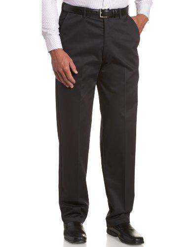 Erweiterbarer Bund (Haggar Herren Arbeitshose mit versteckter erweiterbarer Taille, bügelfrei, einfarbig, vorne - Blau - 34W / 32L)