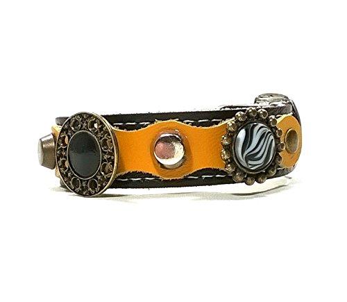Superpipapo Passendes Design Lederarmband | Gelb Schwarz Glänzend Silber Leder mit Luxus Deko Steine und Ornamente
