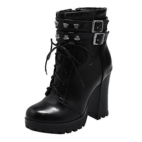 UH Damen Schnür Plateau Stiefeletten Blockabsatz Ankle Boots mit Nieten und Reißverschluss Schnalle Herbst Winter Vintage Schuhe