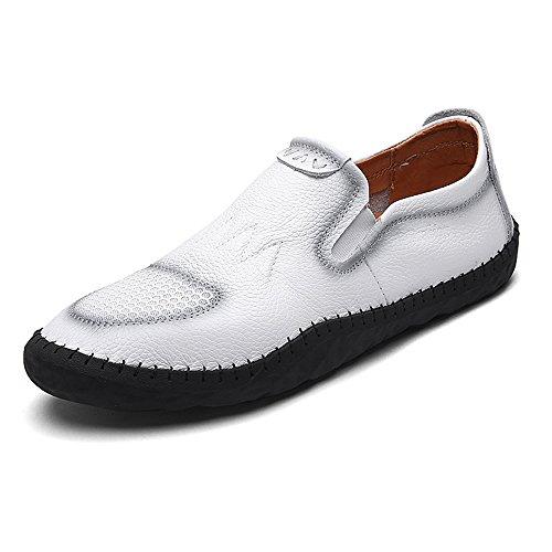 Eastlion Herren Leder Boot Schuhe Loafer Slip auf Deck Schuhe für Casual und Arbeit Weiß