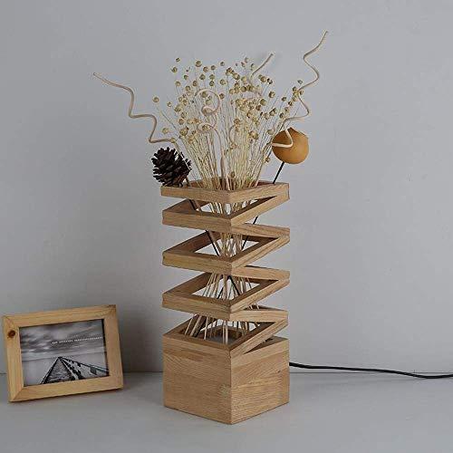 DEJ Moderne, Nordische, Minimalistische Holzvase Led Schreibtischlampe, Led-Nachtlicht Weiße Eiche Vase Als Lampenkörper, 7W L