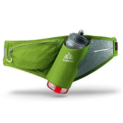 TRIWONDER Gürteltasche mit Flaschenhalter, Hüfttasche Trinkgürtel mit Trinkflasche für Laufen Joggen Damen und Herren (Grün)