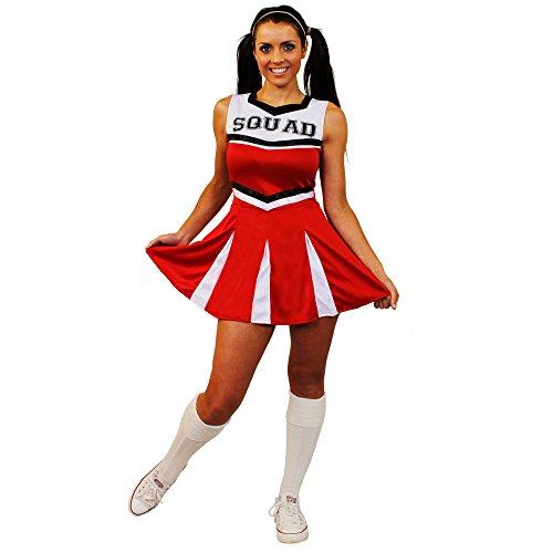 ILOVEFANCYDRESS I Love Fancy Dress ilfd4060s Damen Cheerleader Fancy Kleid Kostüm mit Squad Print und Faltenrock (Cheerleader Kostüm Fancy Dress)