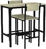 SoBuy Juegos de Muebles Altas, Mesa de Cafetería, 3 Piezas Set de Balcón, Set de Bar, OGT03, ES (2 Sillas)