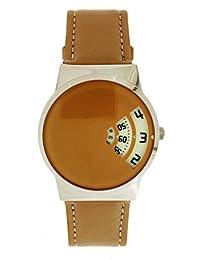 Softech Hombres Diseñador Beige Púrpura Correa de Cuero PU Hora de Salto Disco Reloj Reloj Analog Quartz Hook Buckle Batería Extra