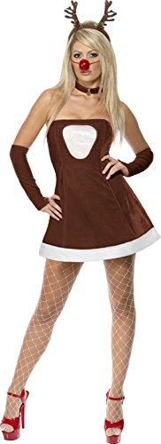SMIFFYS Smiffy's - Costume da renna sexy, incl. vestito, guanti, naso e collana, Donna, taglia: M, colore: Marrone