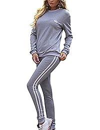Hibote Femmes Survêtement Ensemble À Manches Longues Rayures Sweat À Capuche + Pantalon Sports Costumes 2PCS Pleine Survêtement