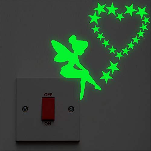 Luminous Angel Fairy Star Schalttafel Aufkleber Glow In The Dark Dekoration Kinderzimmer Fluoreszierende Wand Vinyl Aufkleber