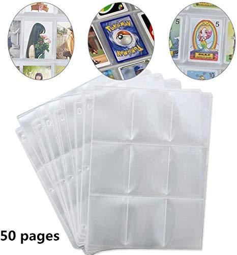 Información: Material: polipropileno transparente. Tamaño del producto: 28,5 x 22,5 cm. 50 tarjetas de juego con un total de 450 bolsillos, 9 bolsillos por página. Tamaño: 68 x 90 mm. 30 tarjetas de juego con 270 bolsillos, 9 bolsillos por página. Ta...