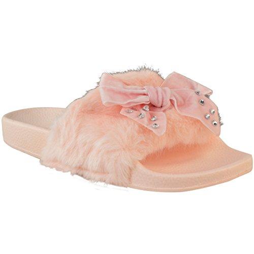 donna comodo fiocco SCIVOLOSI BASSE PELLICCIA FINTA Pantofola strass sandali FERMACAPELLI Taglia pastello rosa pelliccia finta /strass/FIOCCO