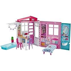 Barbie Mobilier Coffret Maison de Plain-pied à Emporter avec Piscine et Accessoires, Jouet pour Enfant, Fxg54