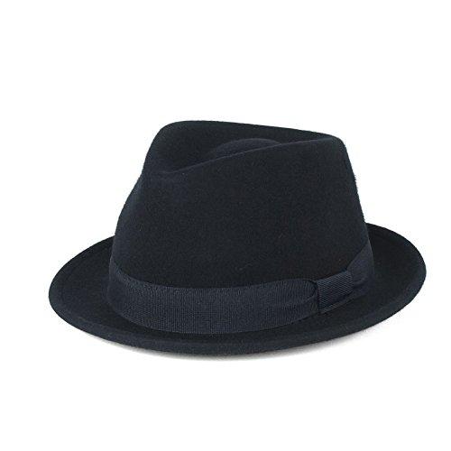 Cappello Trilby Elegante 100% Lana Blu Navi Impermeabile e Pieghevole, Fatto a Mano in Italia (Blu Navy, 59 cm)